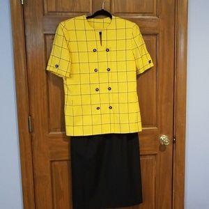 Le Suit Gold & Black Stripe 2 Piece Skirt Suit